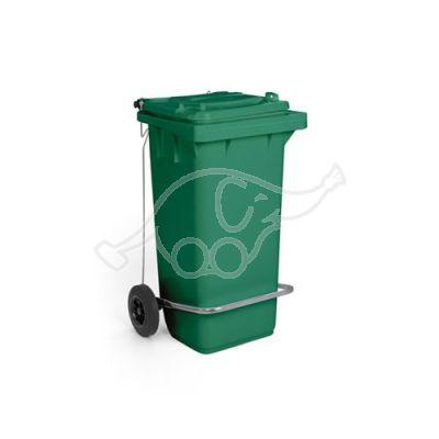 Waste bin lt.120 w/ 2 wheels green