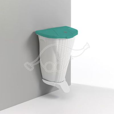 Wall-Up bin 50L with pedal and lid, White/green