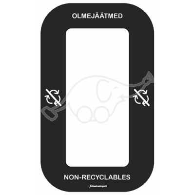 Waste sorting label Bin Multi OLMEJÄÄTMED, black