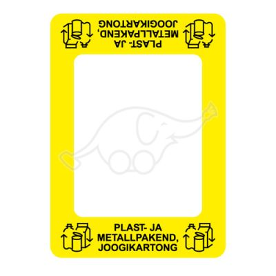 Waste sorting label Bin Commerzi PAKENDID, yellow