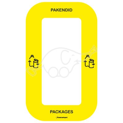 Waste sorting label Bin Multi PAKENDID, yellow