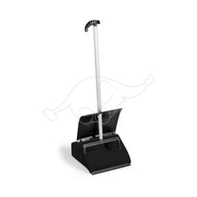 Dust pan with lid+handle+grip, black