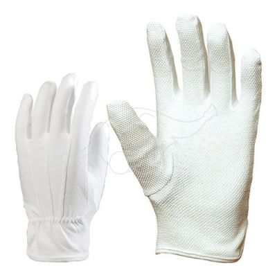 Cotton gloves with pvc dots L white