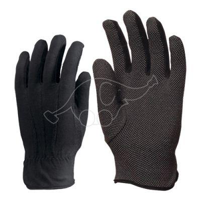 Cotton gloves with pvc dots L black