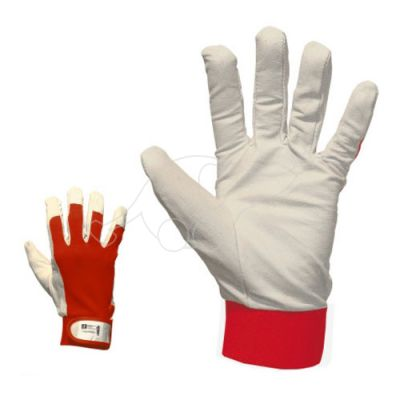 Knitted gloves with goat leather, 7/S white/red