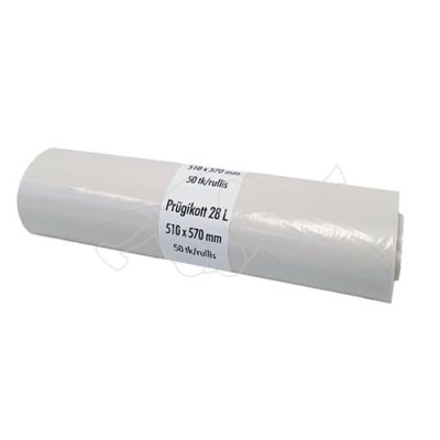Garbage bag 28L white 50pcs/roll 510x570x0,030
