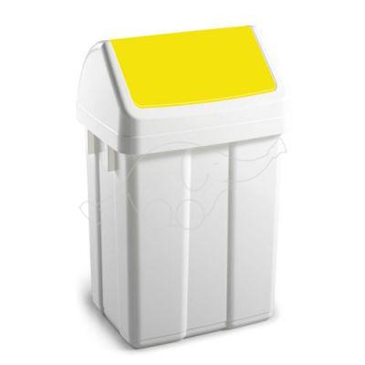Dust bin Max 25L swing lid, white/ yellow