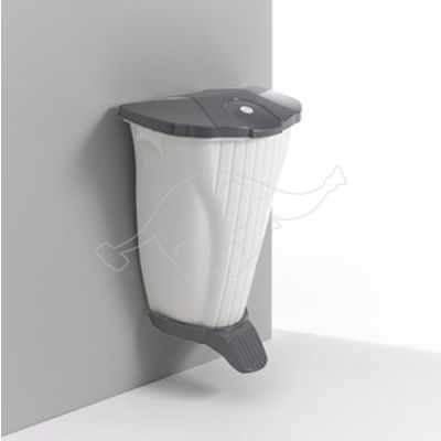Wall-Up bin 50L with pedal and lid, white/dark grey