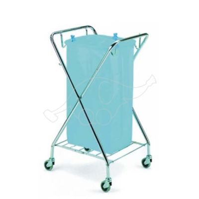 Waste collection cart Dust 120L  foldable, chromed