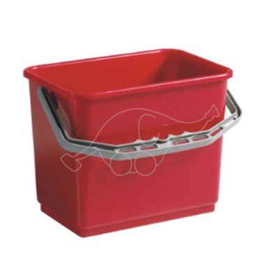 Plastic bucket 4L red