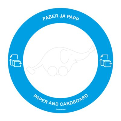 Waste sorting label PABER/PAPP,blue round